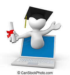 e-learning - E-learning Concept. Student With Graduation Cap...