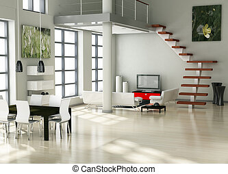 modern interior (3D render) - Living room