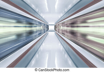 subway - motion blur outdoor of high speed train in subway