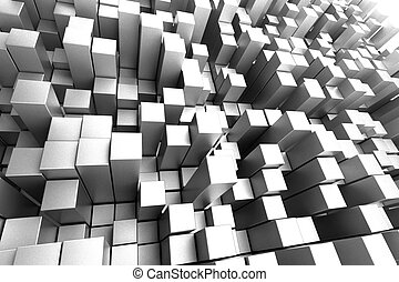 Silver Towers - 3D Silver Matte Blocks Abstract Background