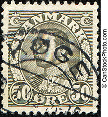 King Christian X - DENMARK - CIRCA 1934: A stamp printed in...
