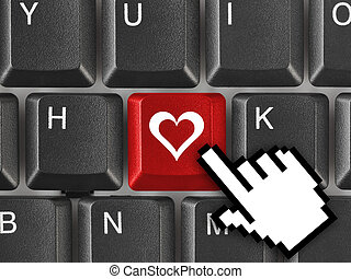 Computer keyboard with love key - internet concept