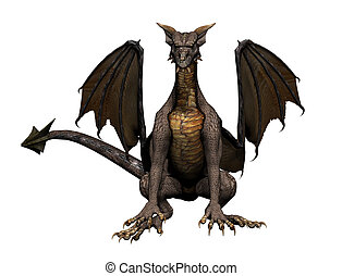 Dragon Sitting - Sitting dragon, 3d digitally rendered...