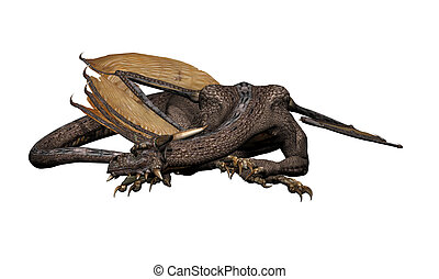 Sleeping Dragon - Sleeping dragon, 3d digitally rendered...