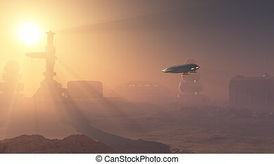 Dusty Landing on Mars Colony - Space shuttle landing in a...
