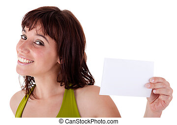 beautiful woman with blank business card in hand, isolated on white background. Studio shot.