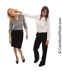 Business woman Texting - One business woman pulling the ear...