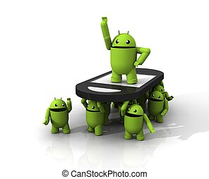 3D ANDROID GROUP - A GROUP OF GREEN ANDROID DECLARE A PARTY