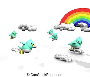 3D TWITTER BIRD GROUP