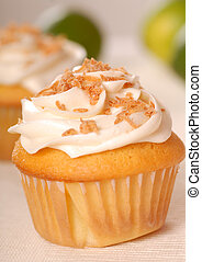 Vanilla cupcake with buttercream and toasted coconut -...