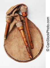 bagpipe from Scotland over white - close-up of bagpipe from...