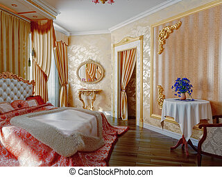 bedroom interior - classic style modern bedroom interior 3D...