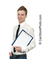 a young man holds a clipboard isolated on white