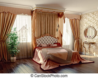 bedroom - classic style modern bedroom interior (3D...