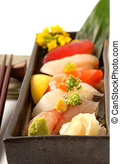 Platter of fresh Japanese sushi with wasabi - Delicious...