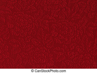 Red rose fabric - Red silk material with floral relief...