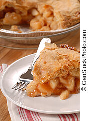 Slice of deep dish apple pie - A slice of a deep dish apple...