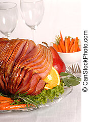 Easter ham with fruit and carrots