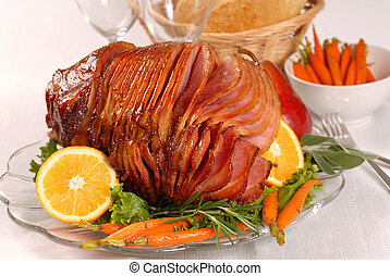 Easter honey glazed ham with carrots - Brown sugar and honey...