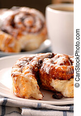 Cinnamon buns with a cup of coffee