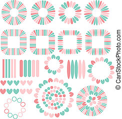 Vector decorations with hearts - Pastel vector decorations...