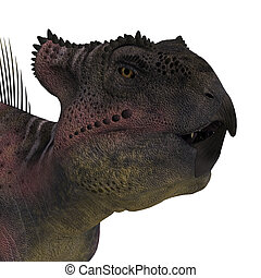 Dinosaur Archaeoceratops. 3D rendering with clipping path and shadow over white