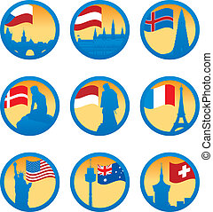 Flags and symbols. Vector illustration for you design