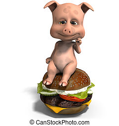 cute and funny toon pig served as a meal. 3D rendering with clipping path and shadow over white