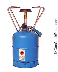 Outdoor butane burner, isolated against background