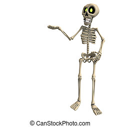 very funny cartoon skeleton 3D rendering with clipping path...