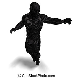 science fiction male character in futuristic suit. 3D rendering with clipping path and shadow over white