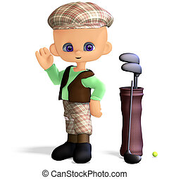 cute and funny cartoon golf player 3D rendering with...