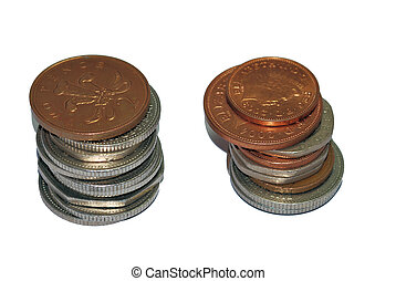 Coins stacked up - Two stacks of coins