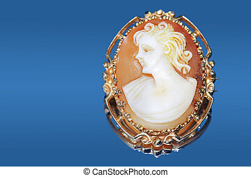 Antique cameo on blue - Fine jewelry: beautiful antique...