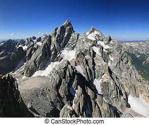 Grand Teton and Mount Owen from the summit of Teewinot peak