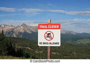 no mountain biking sign
