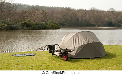 Carp Fishing - Photo of a Carp bivvy and fishing equipment