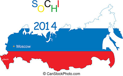 Winter Games 2014 in Sochi - Map of Russia, with the flags...