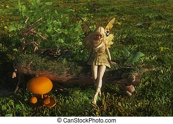 Fairy sitting on a mossy log