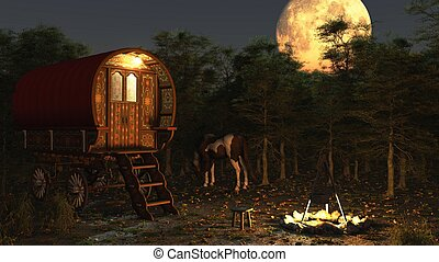 Gypsy Wagon in the Moonlight - Traditional Romany Gypsy...
