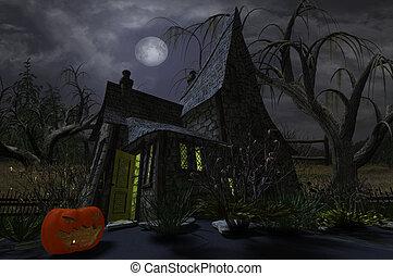 Witch Cottage with Pumpkin Lantern