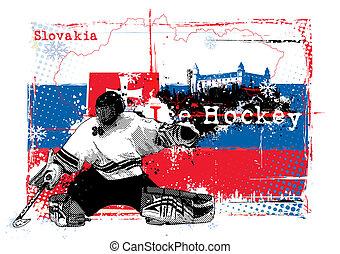 ice hockey championship slovakia 2 - goalie in the slovakia...