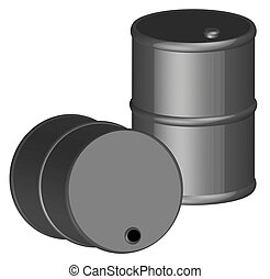two 3d black barrels or fifty gallon drums