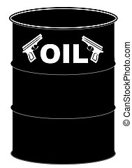 fight over oil - black barrel of of with handguns - fight...