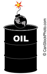 barrel of oil with explosive earth bomb