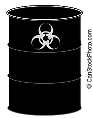 barrel with biohazard sign - fifty gallon drum or black...