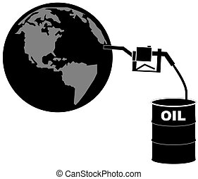 barrel of oil pumping fuel into the earth