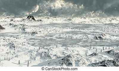 Icy Mountain Lakes - 2 - Frozen lakes in a snowy high...