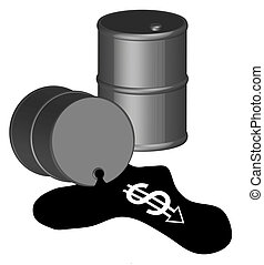 black oil barrel with money running out - 3d - black oil...