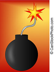 bomb with lit fuse on red gradient background